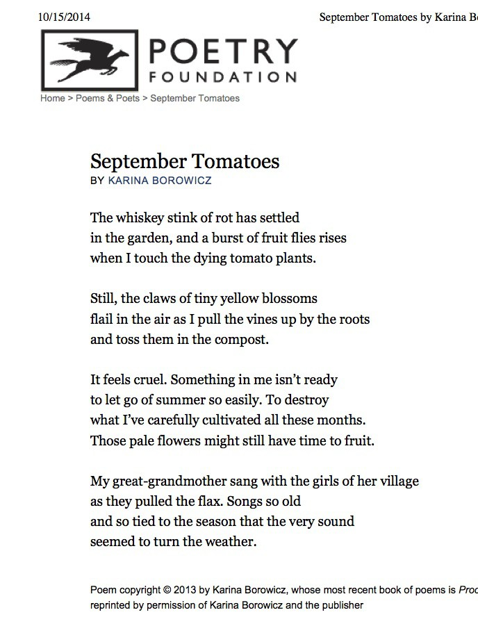 "Preview of ""September Tomatoes by Ka...- The Poetry Foundation"""